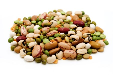 Dried legumes and cereals on a white background photo
