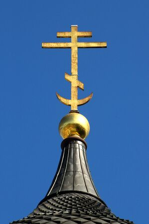 patriarchal: An eastern orthodox patriarchal golden cross