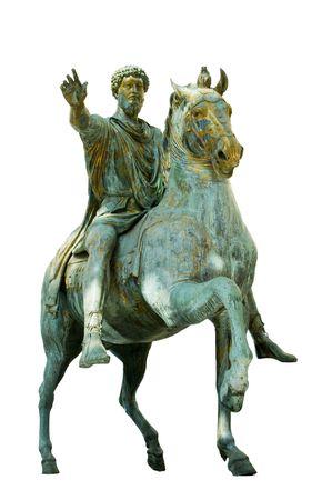 Original equestrian statue of emperor Marcus Aurelius on a white background