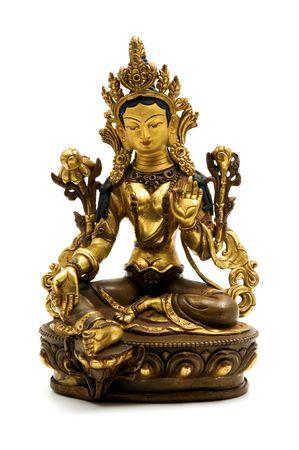 Statue of Green Tara on a white background Stok Fotoğraf