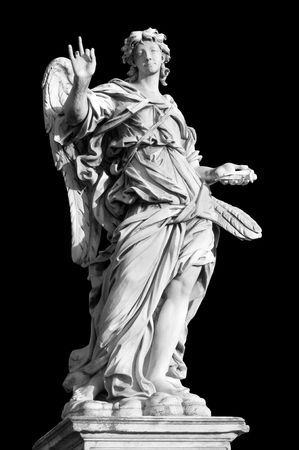 ponte: Angel with the Nail on Ponte SantAngelo, Rome, Italy Stock Photo