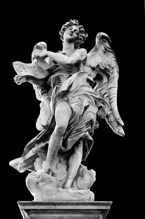 inri: Angel with the Superscription on Ponte SantAngelo, Rome, Italy,