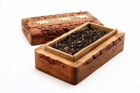 darjeeling: Ornate box with Darjeeling Tea on a white background