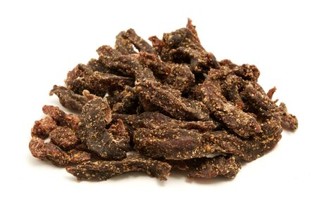 cured: South African biltong on a white background