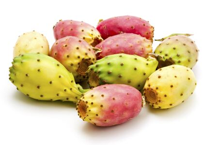 Fruits of Opuntia ficus-indica on a white background