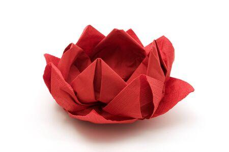 Red lotus origami on a white background Stok Fotoğraf