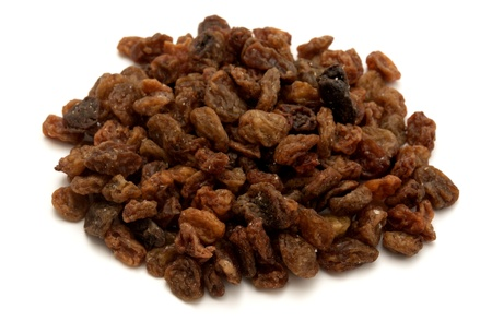 sultanas: Raisins on a white background