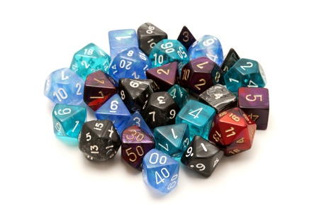 roleplaying: Role-playing dices on a white background
