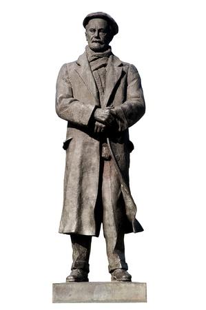 Bronze sculpture of Pío Baroja on a white background Banco de Imagens