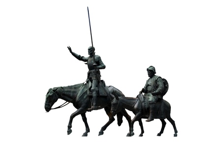 Bronze sculptures of Don Quixote and Sancho Panza on a white background