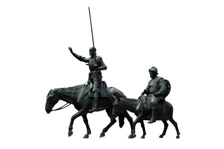 don quixote: Bronze sculptures of Don Quixote and Sancho Panza on a white background