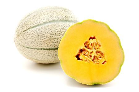 マスクメロン: Cantaloupe on a white background 写真素材