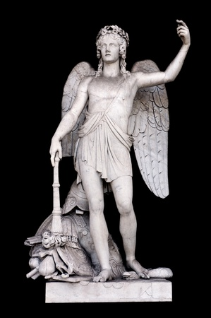 neoclassic: Angel of the Arts by Filippo Gnaccarini in Pincios Nymphaeum, Rome Italy Stock Photo