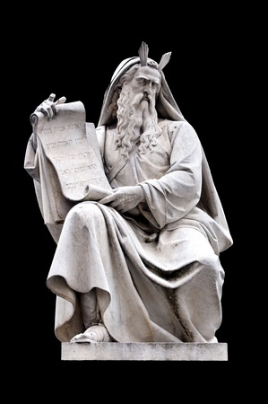 Spagna: Moses by Ignazio Jacometti on the base of the Colonna dellImmacolata, Rome Italy