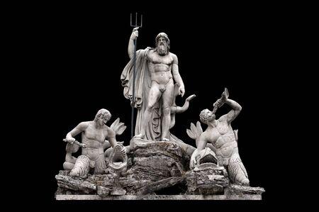 neptuno: Fontana del Nettuno por Giovanni Ceccarini en la Piazza del Popolo, Roma, Italia