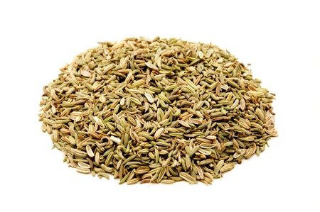 foeniculum vulgare: Fennel seeds on a white background