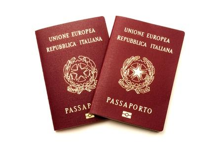 Italian biometric e-passports on a white background  Stok Fotoğraf
