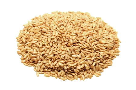 flax: Golden flax seeds on a white background