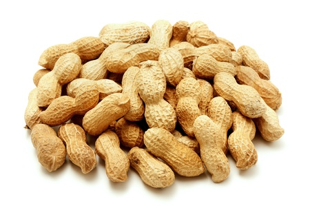 earthnuts: Peanut shells on a white background