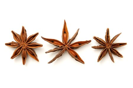 Star anise fruits on a white background photo