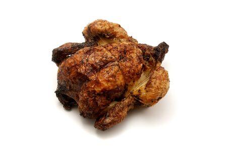pollo rostizado: Spit pollo asado sobre un fondo blanco