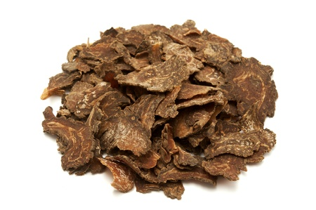 Sliced chuanxiong on a white background