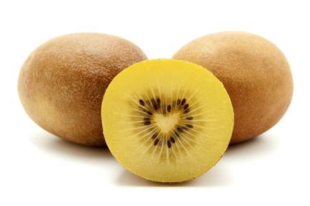 kiwifruit: Gold kiwifruit on a white background