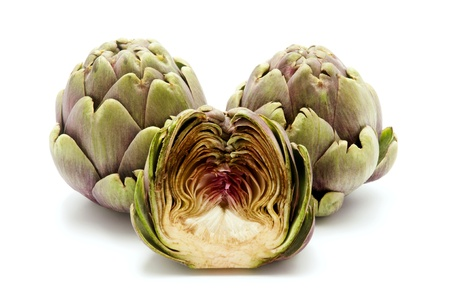 Artichokes on a white background photo