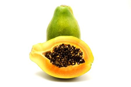 papaw: Papaya on a white background Stock Photo