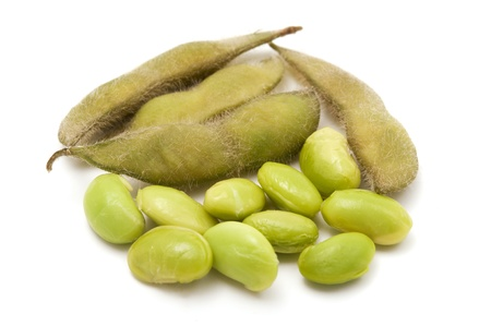 glycine: Edamame beans on a white background