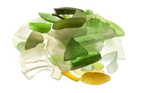 Backlit sea glass on a white background