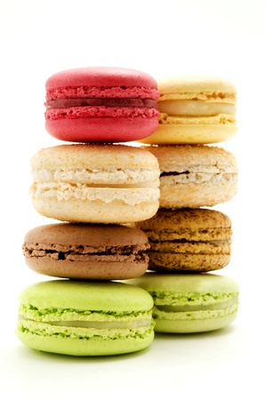 macaron: Traditional macarons on a white background