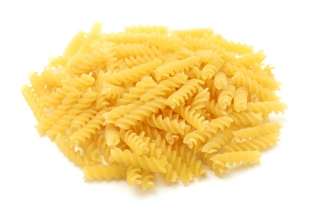 fusilli: Fusilli on a white background Stock Photo