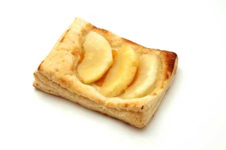 puff pastry: Apple puff pastry tartlet on a white background