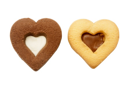 Homemade heart-shaped cookies on a white background Stok Fotoğraf