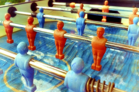 Close up shot of an old table football photo