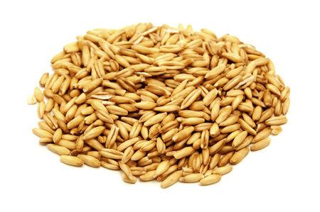 groat: Oat grains on a white background