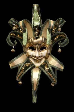 Venetiaans masker op een zwarte achtergrond