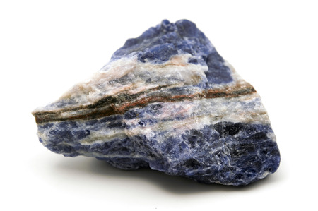 mineralogy: Raw sodalite on a white background
