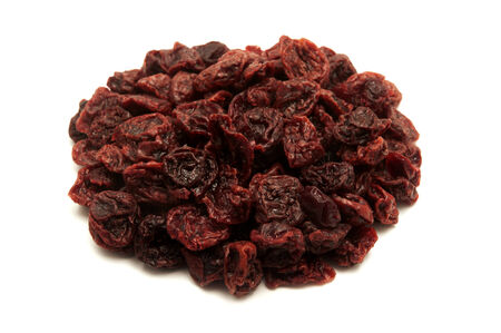 sour cherry: Dried sour cherries on a white background