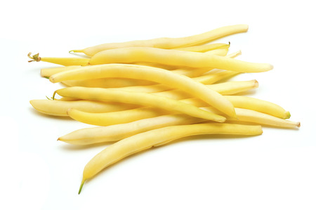 bush bean: Wax beans on a white background Stock Photo