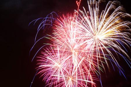 Fireworks on a black background Stock Photo