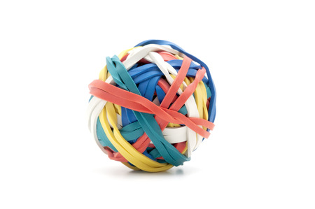 rubber bands: Ball of rubber bands on a white background