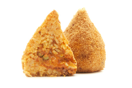 sicilian: Sicilian conical shaped arancini on a white background