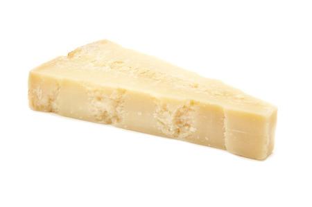mesi: Slice of grana padano oltre 16 mesi (over 16 months) on a white background