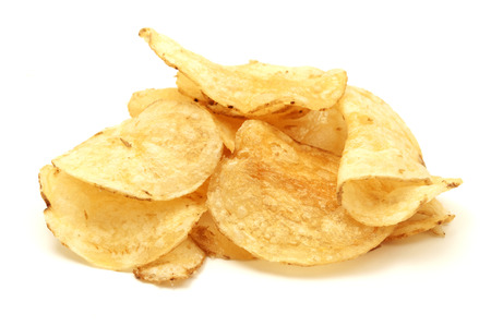 in the chips: Potato chips on a white background