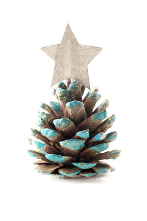 outs: Christmas pine cone placeholderon a white background Stock Photo