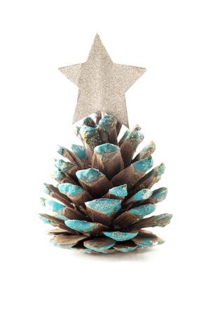 pomme de pin: Noël cône de pin placeholderon un fond blanc