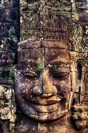 bayon: Stone face at Bayon, Angkor Thom, Cambodia