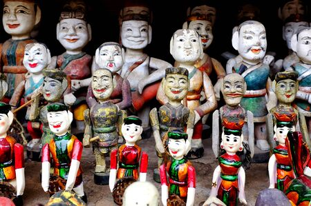 laquered: Vietnamese water puppets on display Stock Photo